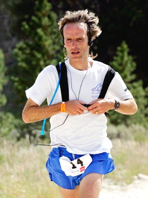 Matt Carpenter - 72 miles into the 2005 Leadville Trail 100 miler getting ready to exchange CamelBaks
